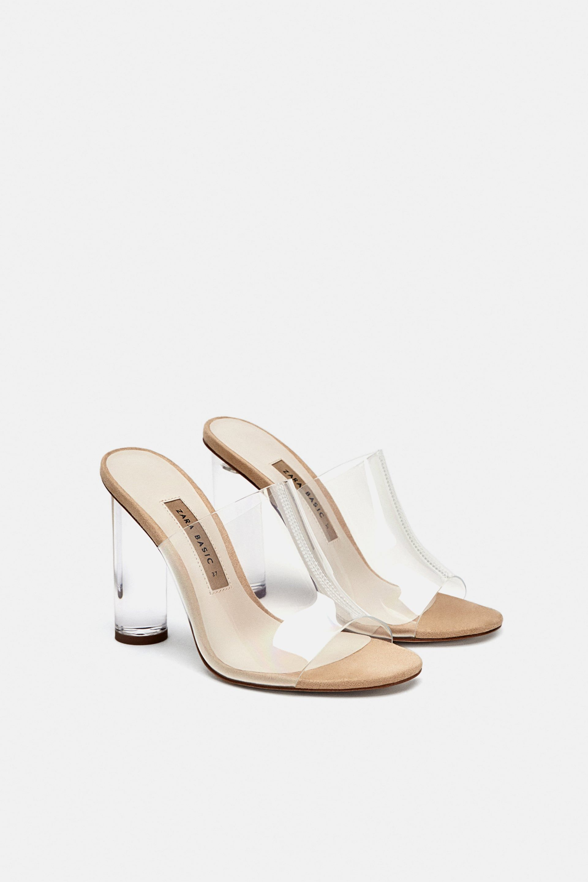 661186fce74 Image 1 of VINYL MULES WITH METHACRYLATE HEEL from Zara