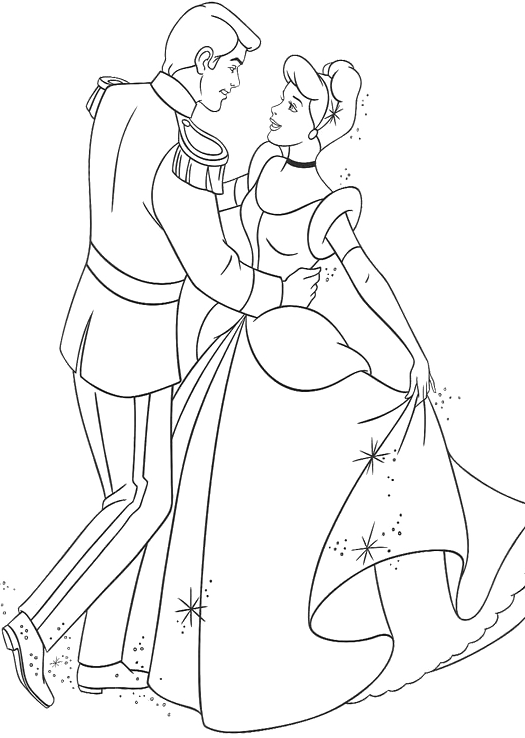 Cinderella Dancing With Prince Charming Coloring Pages Artwork