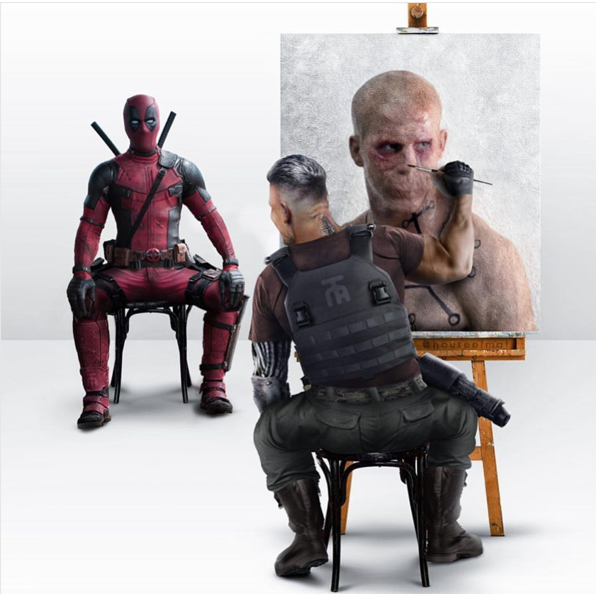 Hilarious Fan Made DEADPOOL 2 Art Shows Cable Painting