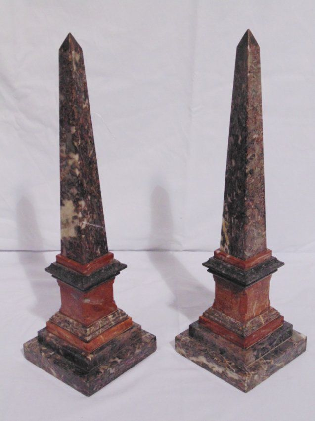 Pair 19th C Mixed Marble Obelisk Feb 08 2014 K M Auction Liquidation Sales Ltd In Fl Obelisk Stone Art Marble