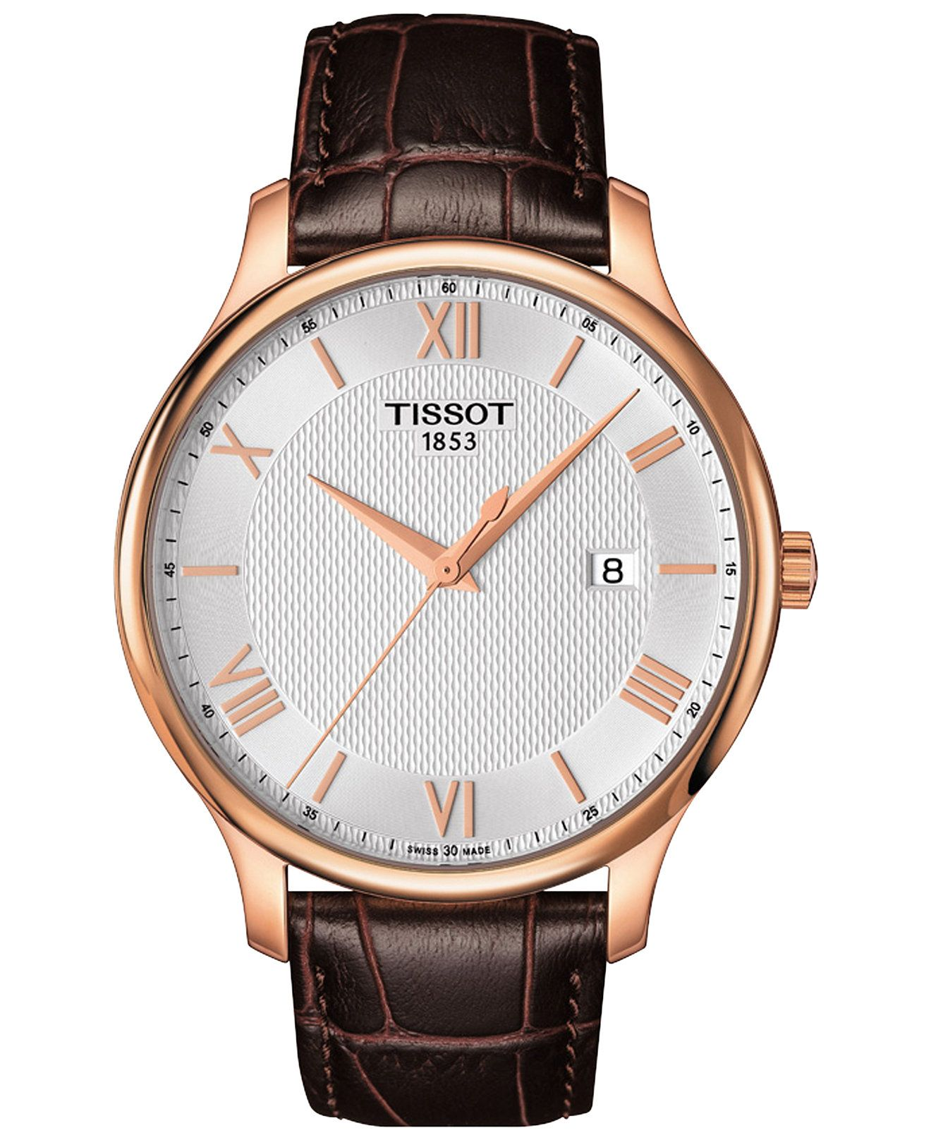 0b3e0ecc9da Tissot Men s Swiss Tradition Brown Leather Strap Watch 42mm T0636103603800  - Shop All Luxury Watches -