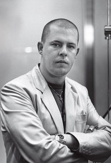 Alexander McQueen at the opening of his first boutique in London in 1999. Photo by Tim Jenkins