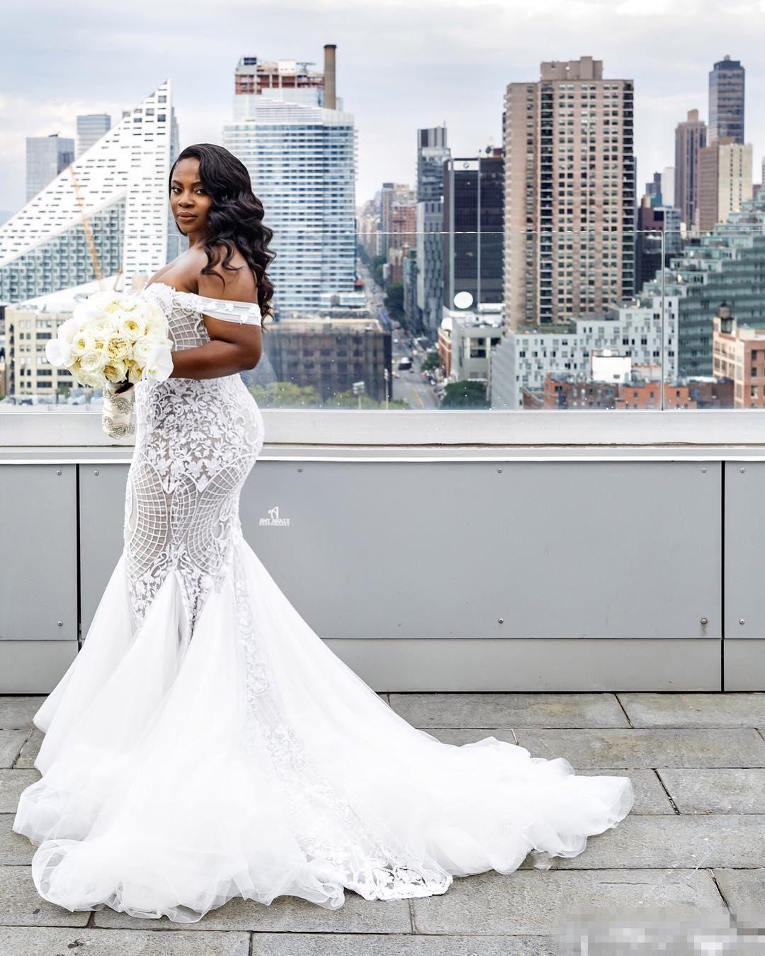 Custom Modest Plus Size Wedding Dresses Mermaid Off Shoulder Sweep Train Tulle Lac Australian Wedding Dress Designers Wedding Dress Styles Summer Wedding Dress [ 1349 x 1080 Pixel ]