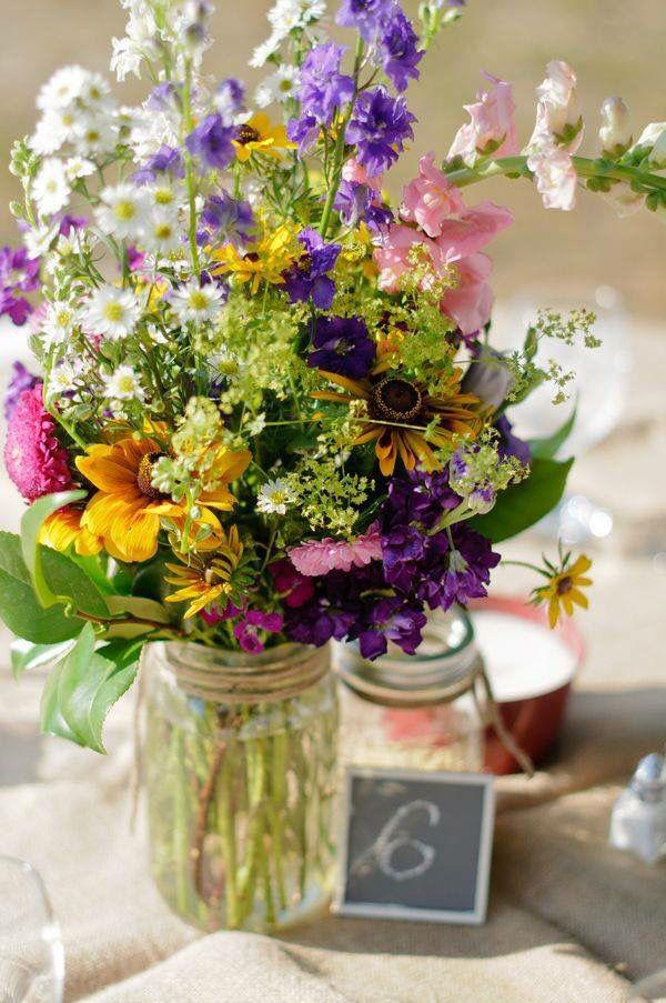 Centros Mesa Wedding Table Flowers Wild Flower Arrangements Wildflower Wedding