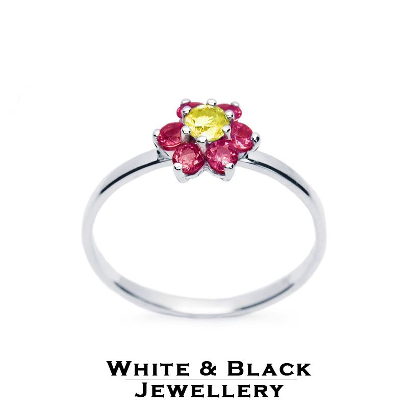 Fehérarany virágocska rubinokból és sárga zafírból - White gold ring with a flower made from rubies and a yellow sapphire