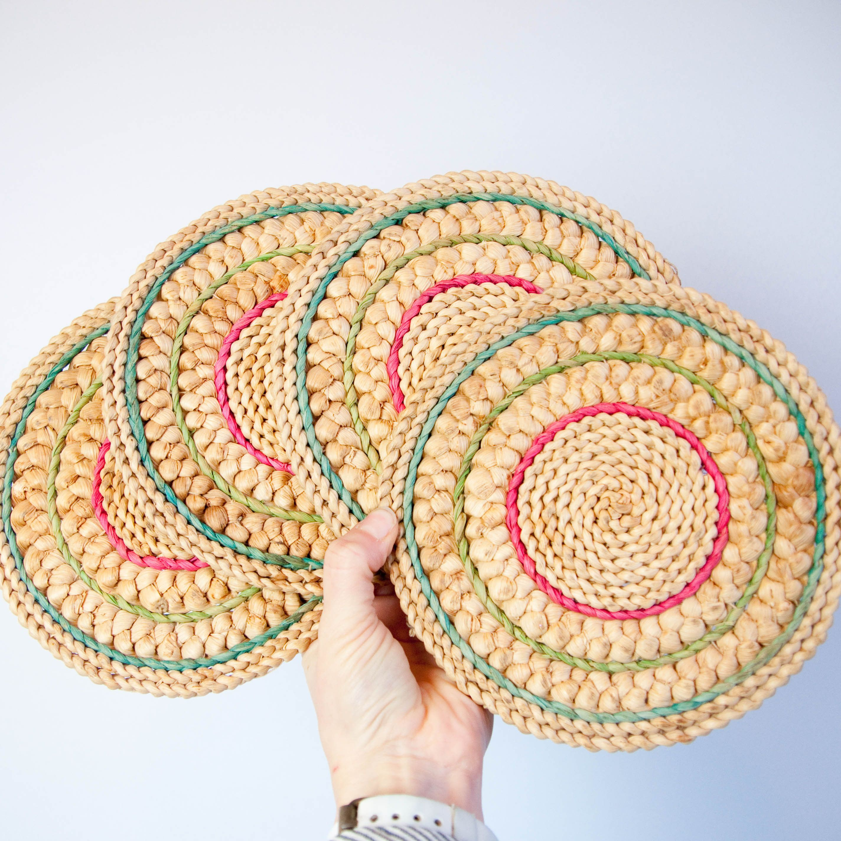 Set of 4 raffia trivets, hot plate, coaster, geometric straw trivet ...