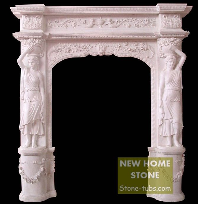 Marble statue Carving Columns Looks stunning White Marble Hand Carved Garden Door Frame with women sculptures &  flowers Relief.