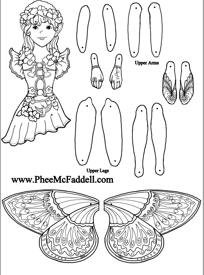 Fairy Puppet Alexis to color www.pheemcfaddell.com Lots