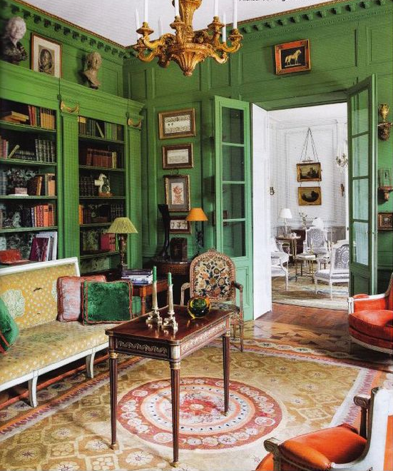 Houzify Home Design Ideas: Green French Vintage Living Room Design