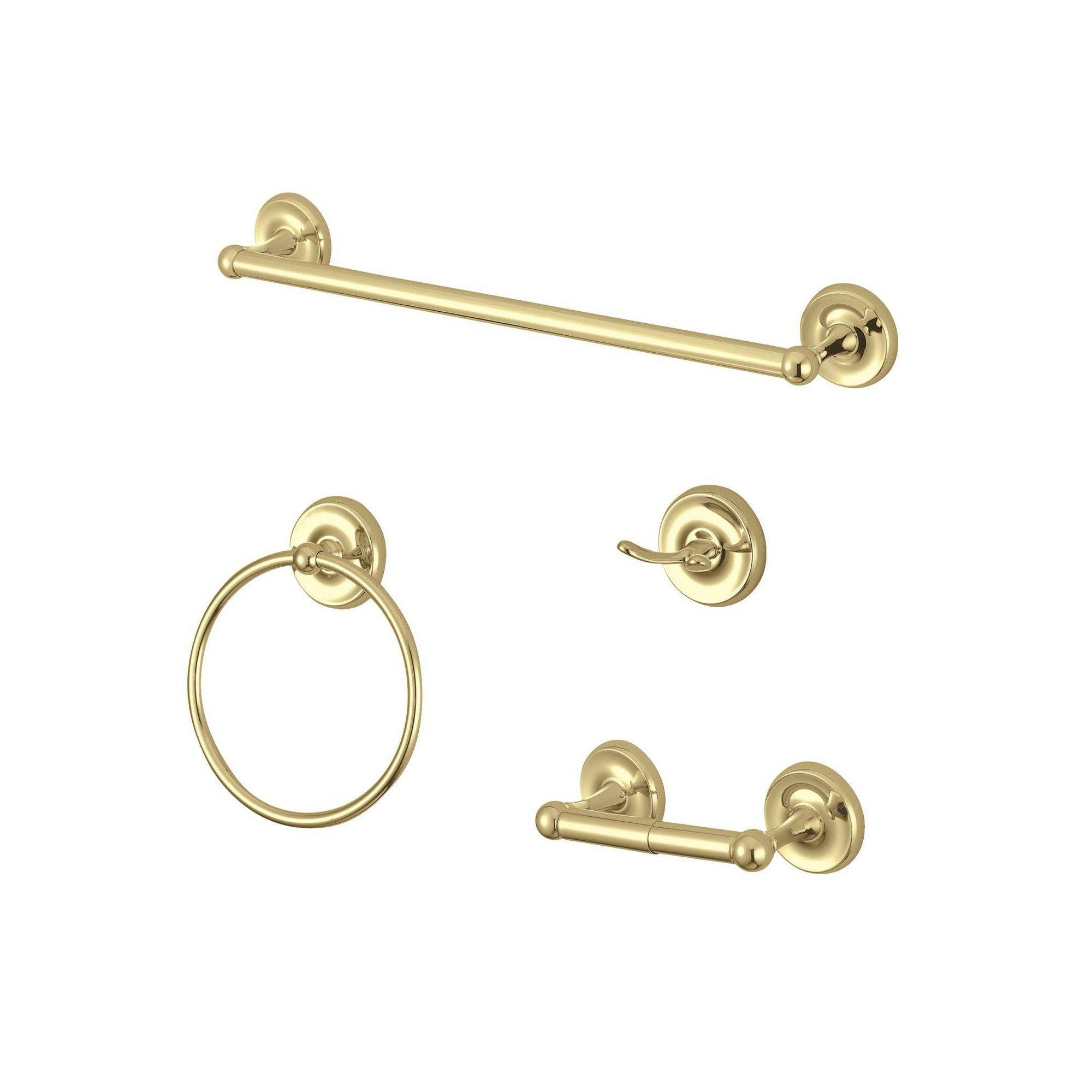 4pc Victorian Bathroom Accessory Set Polished Brass Kingston