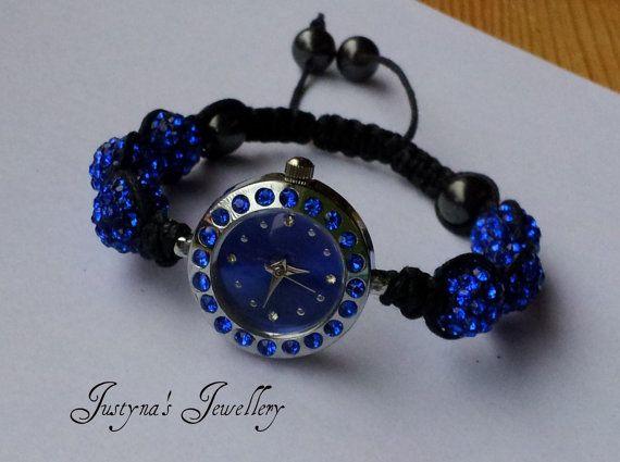 Royal Blue Shamballa Watch by JustynaJewelleryUK on Etsy, £15.00