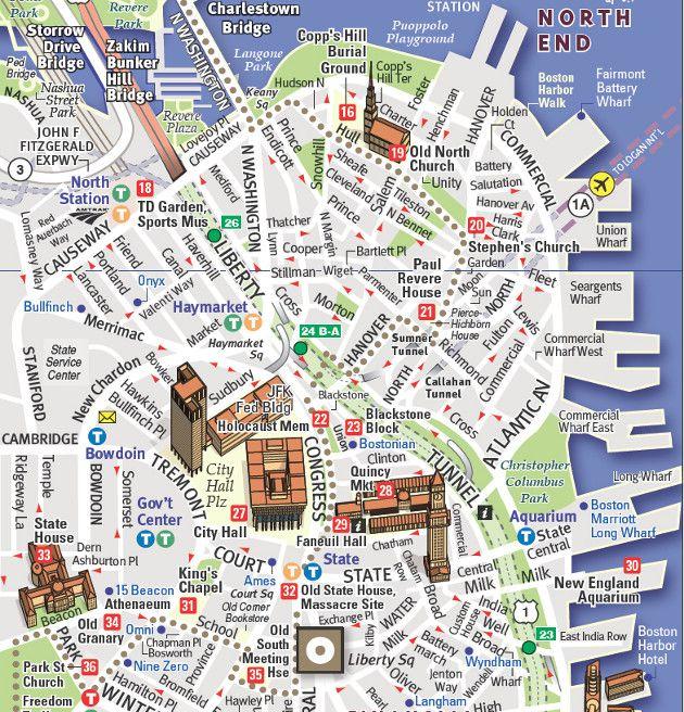 Boston's Freedom Trail Heart Of The American Revolution: Freedom Trail Boston Map At Slyspyder.com