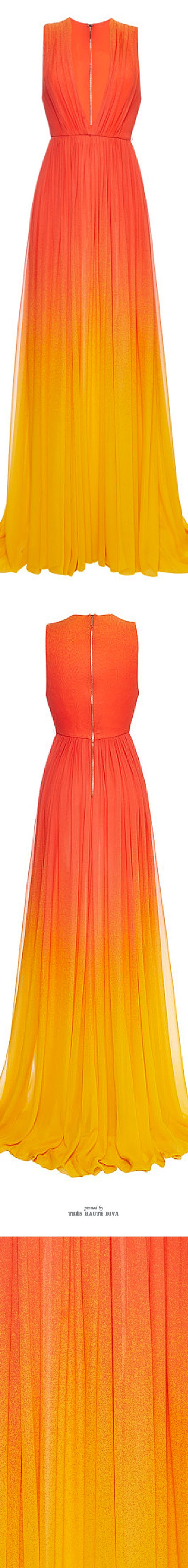 Orange yellow ombre maxi dress plunge neckline