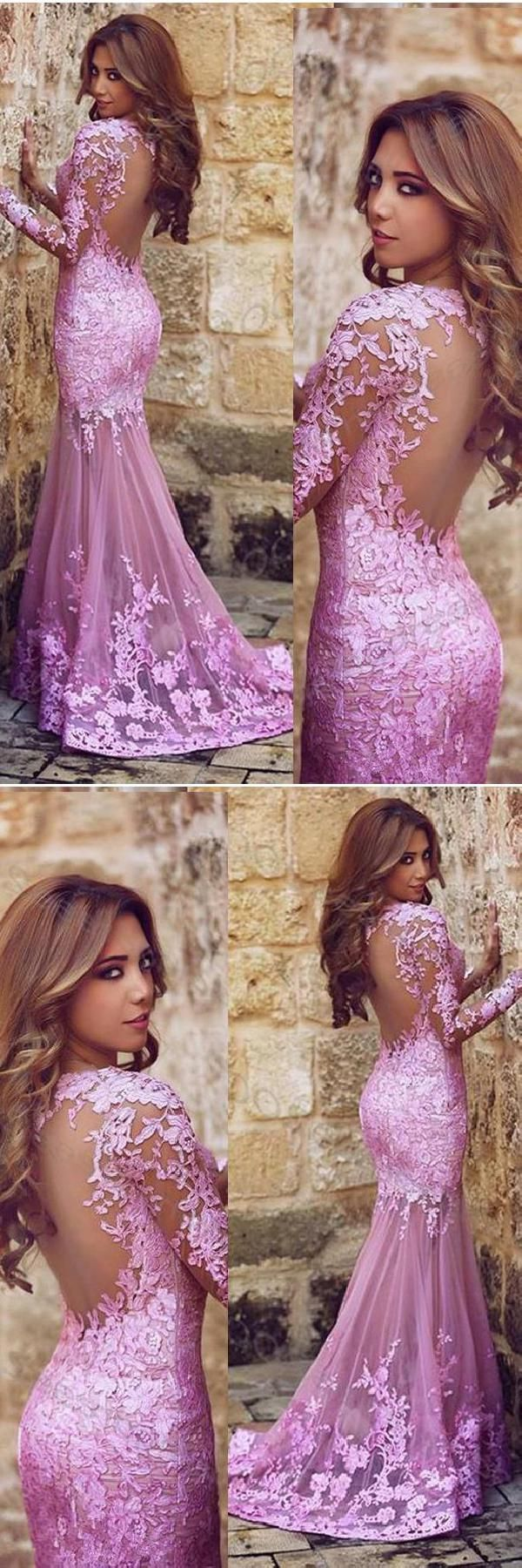 Customized light lace prom dresses mermaid prom dresses pink prom
