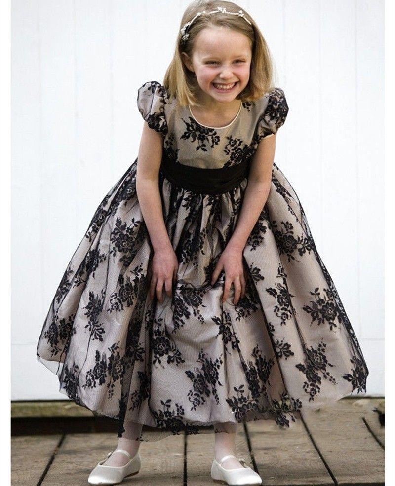 White black lace flower girl dresses first communion dresses