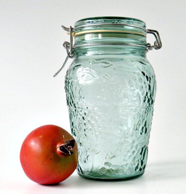 Vintage Libbey Canada Flip Top Green Glass Jar, 1.5 Liter, Fruit Embossed Kitchen  Canister