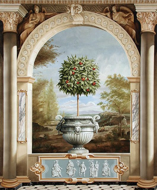 Trompe l'Oeil topiary urn arch landscape background