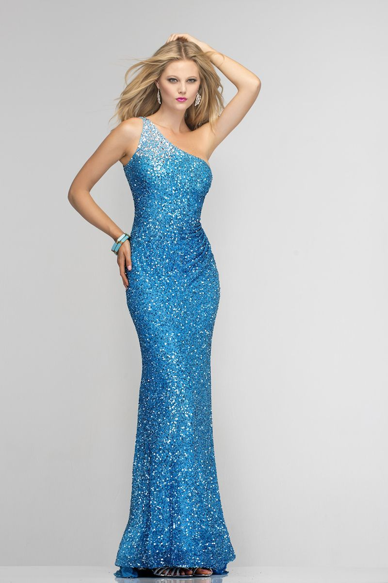 French blue long beaded dress with one silver beaded shoulder 5956 ...