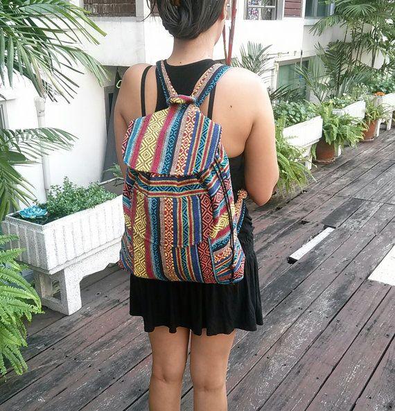 Art AztecTribal Woven Backpack Boho Hippie Tapestry Ethnic Rucksack Hipster  Aztec Gypsy Nepali Patterns Bags Hippie Purse Native Design cd51ddd8da