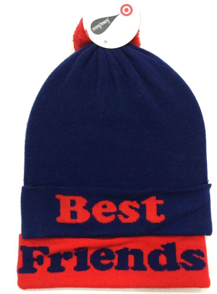 Neiman Marcus Target Womens Beanie Blue Red Best Friends Pom Pom New   NeimanMarcus  Beanie be69e551d5b