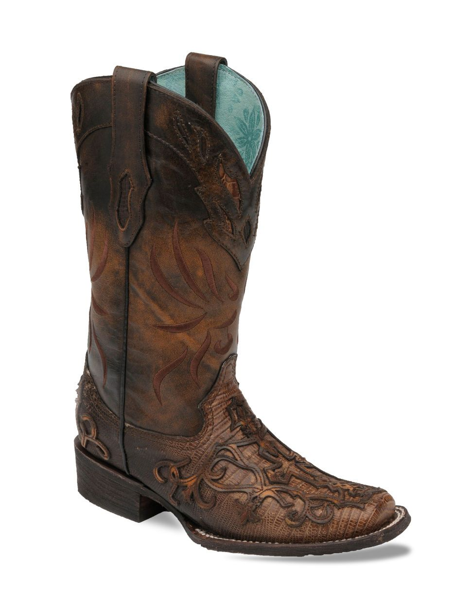 Women's Cognac Teju Lizard Cross Overlay Cowgirl Boot Square Toe - C2680