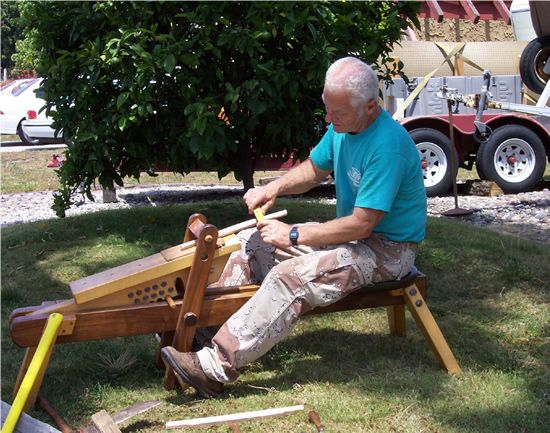 Russ Filbeck Ladder Back Chairs Spoke Shaves Woodworking Classes Windsor Chairs Wooden Spoke Shaves - Shaving Horse in use.