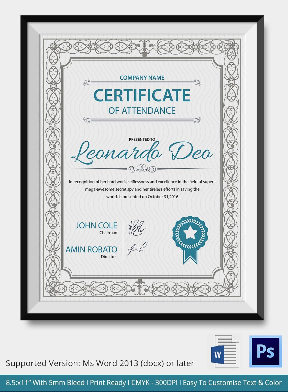 The Marvelous Professional Editable Certificate Of Attendance Template Intend Certificate Of Participation Template Editable Certificates Certificate Templates