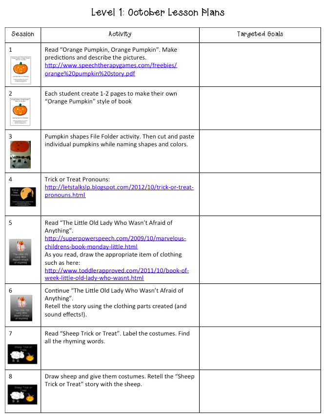 October Lesson Plans Speech Language Therapy Blog Posts