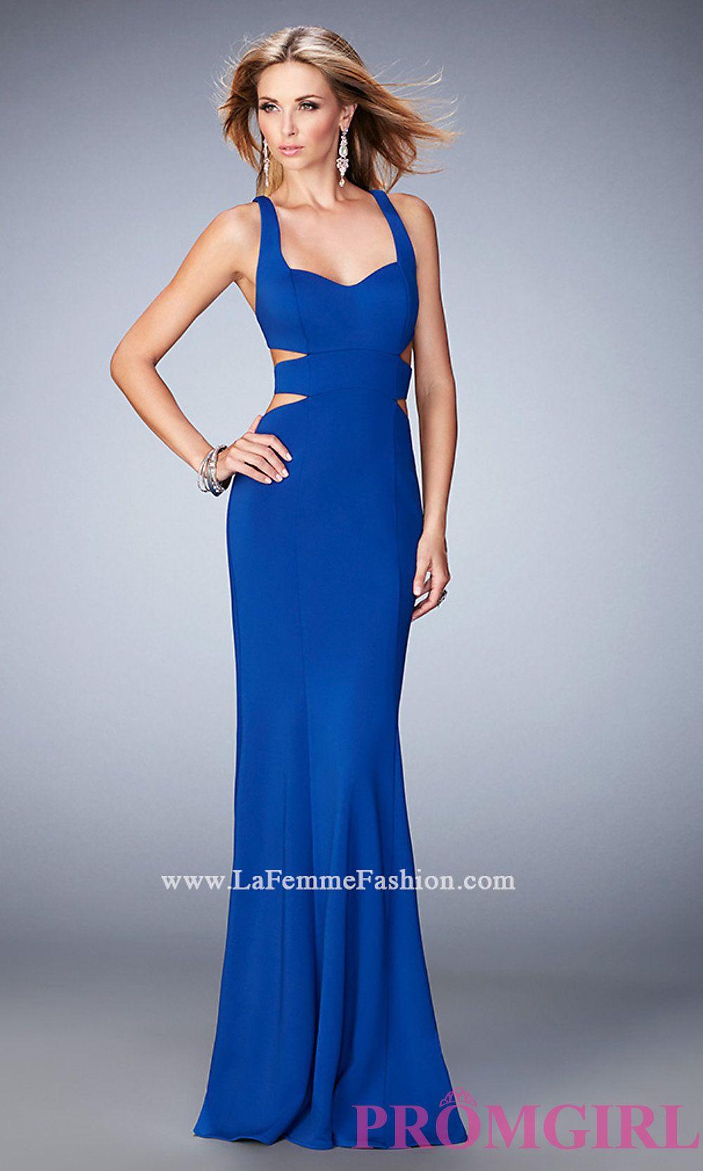 Open back long prom dress by la femme style lf prom