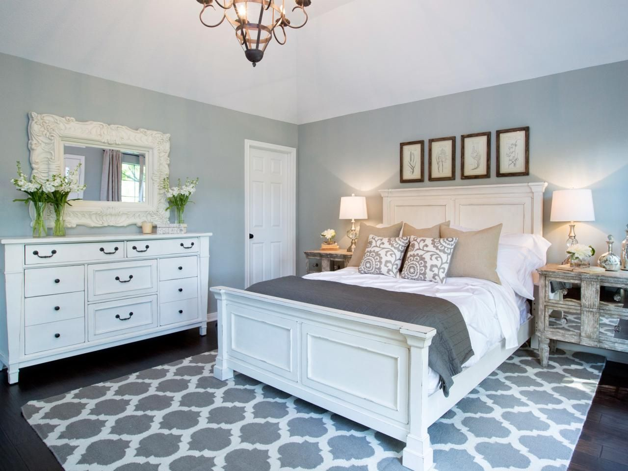 Bedroom colors grey and white - I Have Black Bedroom Furniture With Silver Accent Handles I Ordered The Same Rug Silver Lamps W White Shades W Silver Ribbings Around The Shades