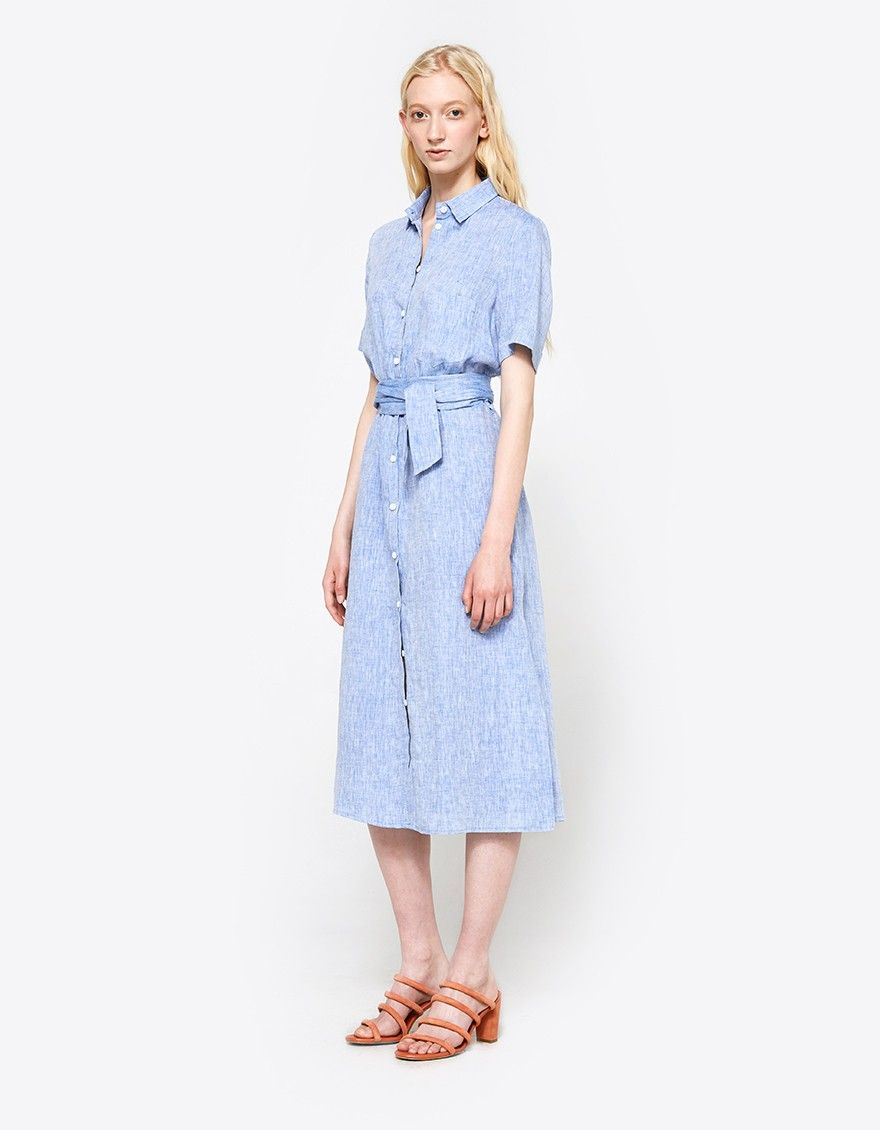 b75956a17b1 Shirt dress from Stelen in Blue. Pointed collar. Short sleeves with rolled  cuff. Front button closure. Belt loops at waist with removable tie belt.  Side ...