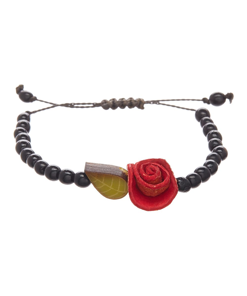 Calamarie Red & Black Floral Beaded Adjustable Bracelet | zulily