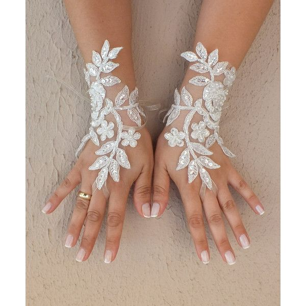 Ivory silver frame Wedding Glove, ivory lace gloves, Fingerless Glove,... ($32) ❤ liked on Polyvore featuring accessories, gloves, lace fingerless gloves, white winter gloves, fingerless bridal gloves, pearl gloves and ivory gloves