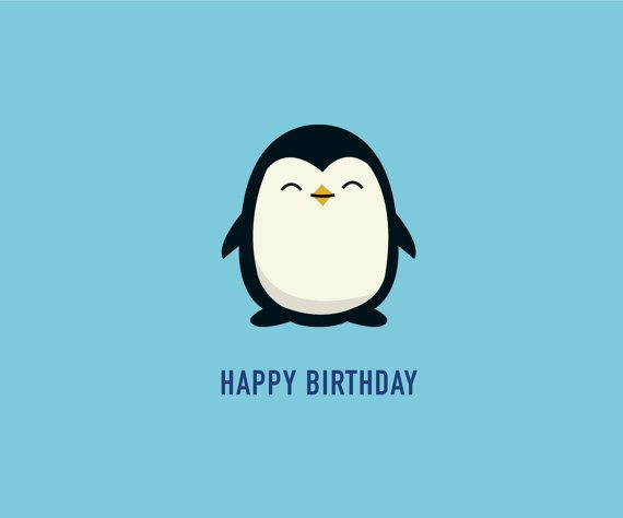 Penguin Birthday Card Funny Card Cute Card Celebrations