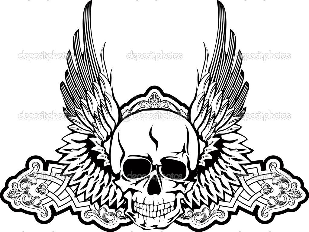 Skull With Wings Skull Coloring Pages Skulls Drawing Scary Coloring Pages