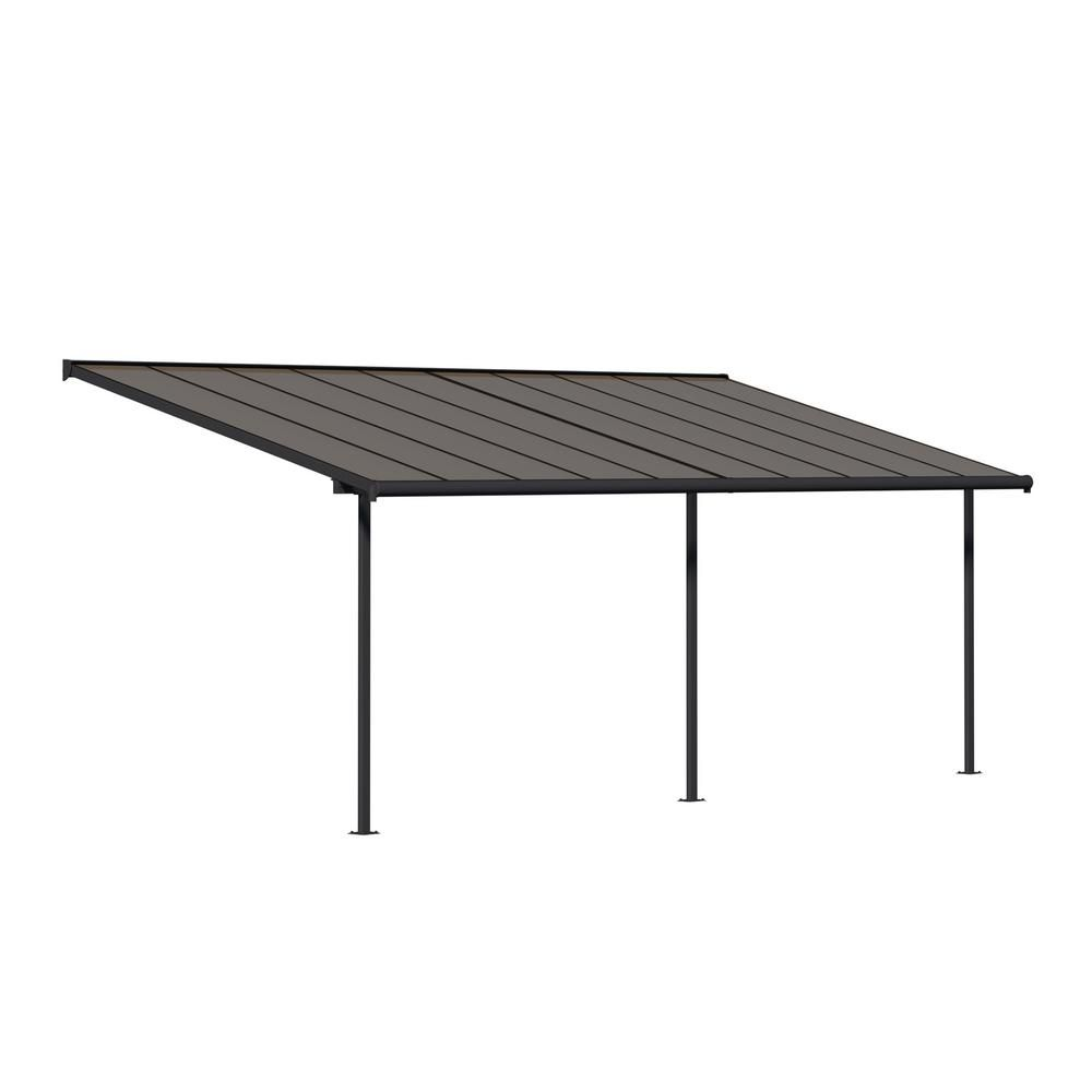 Palram Sierra 10 Ft X 20 Ft Gray Bronze Patio Cover Awning 705333 The Home Depot In 2020 Covered Patio Patio Pergola
