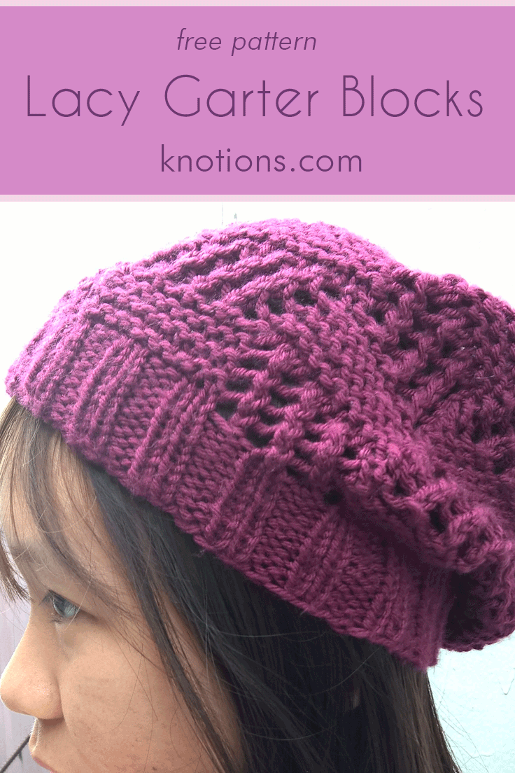 Lacy Garter Blocks Beanie | Garter stitch, Knitting patterns and Stitch