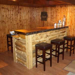 Log cabin bar front nordic event themes pinterest for Log cabin basement ideas