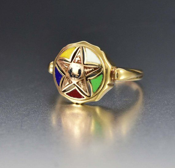 Vintage Enamel Star Ring 10k Yellow Gold Oes Order Of The Eastern Star Masonic Ring Fine Estate 1930s Art Deco Enamel Fraternal Jewelry Products Rings J