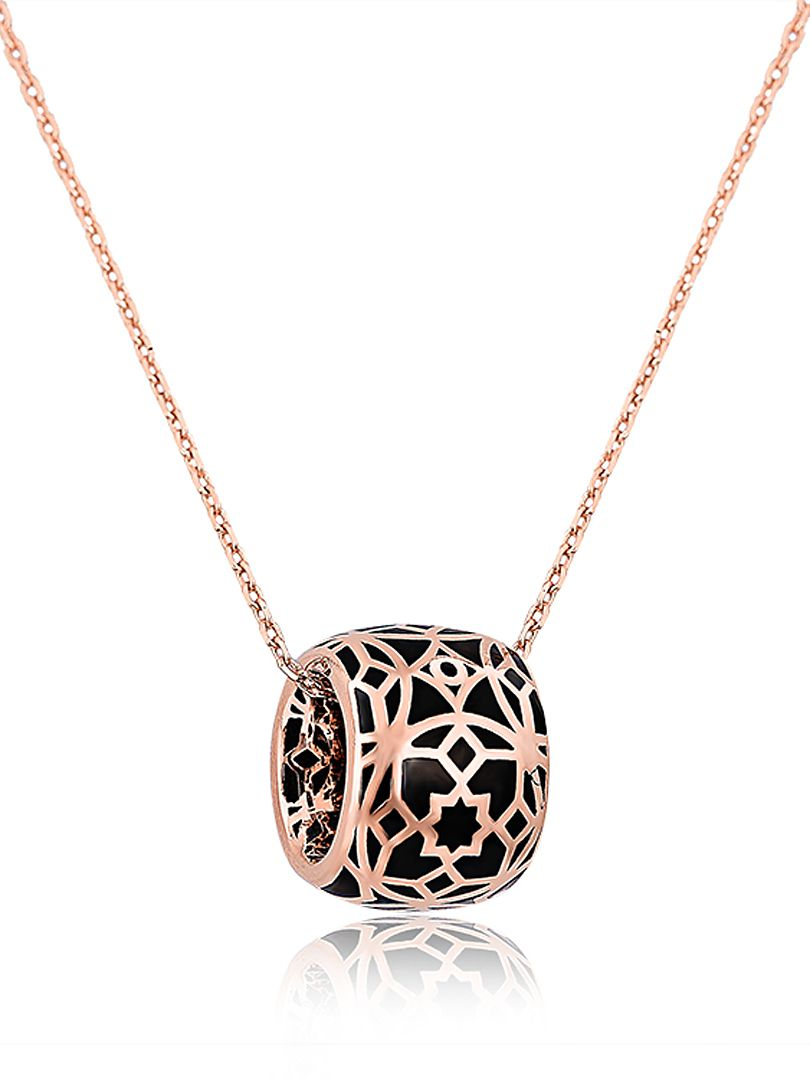 Love! Love! Love! Black and Rose Gold Geometry Pattern Pendant Necklace | Choies #Black #Rose_Gold #Necklace #Fall  #Fashion #Jewelry #Accessories