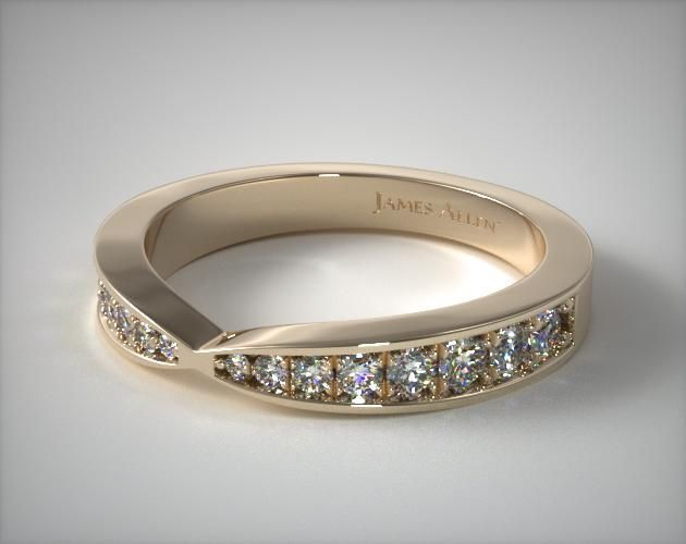 14k Yellow Gold Tapered Pave Band In 2020 Pave Band Diamond Wedding Rings Women White Gold