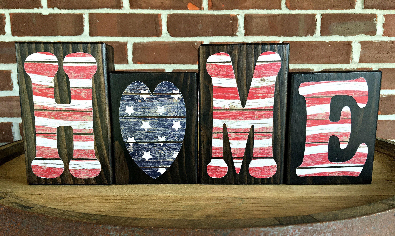 Patriotic HOME Blocks Rustic Wooden Letter Blocks American Flag