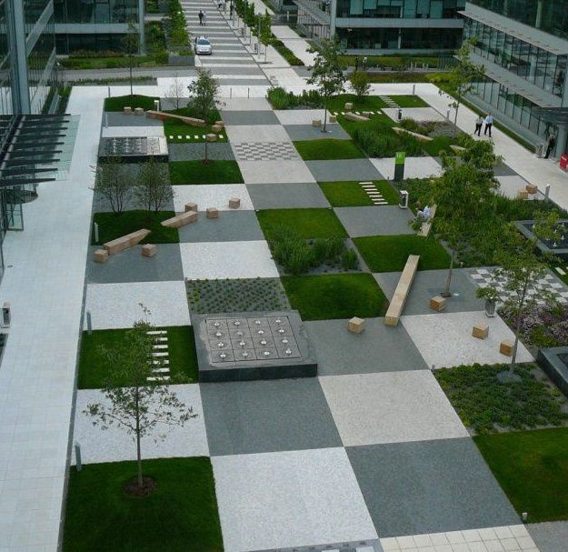 Green Landscaping Patchwork In The Park Of A Large Office Complex In  Prague, Czech Republic By Cigler Marani Architects.
