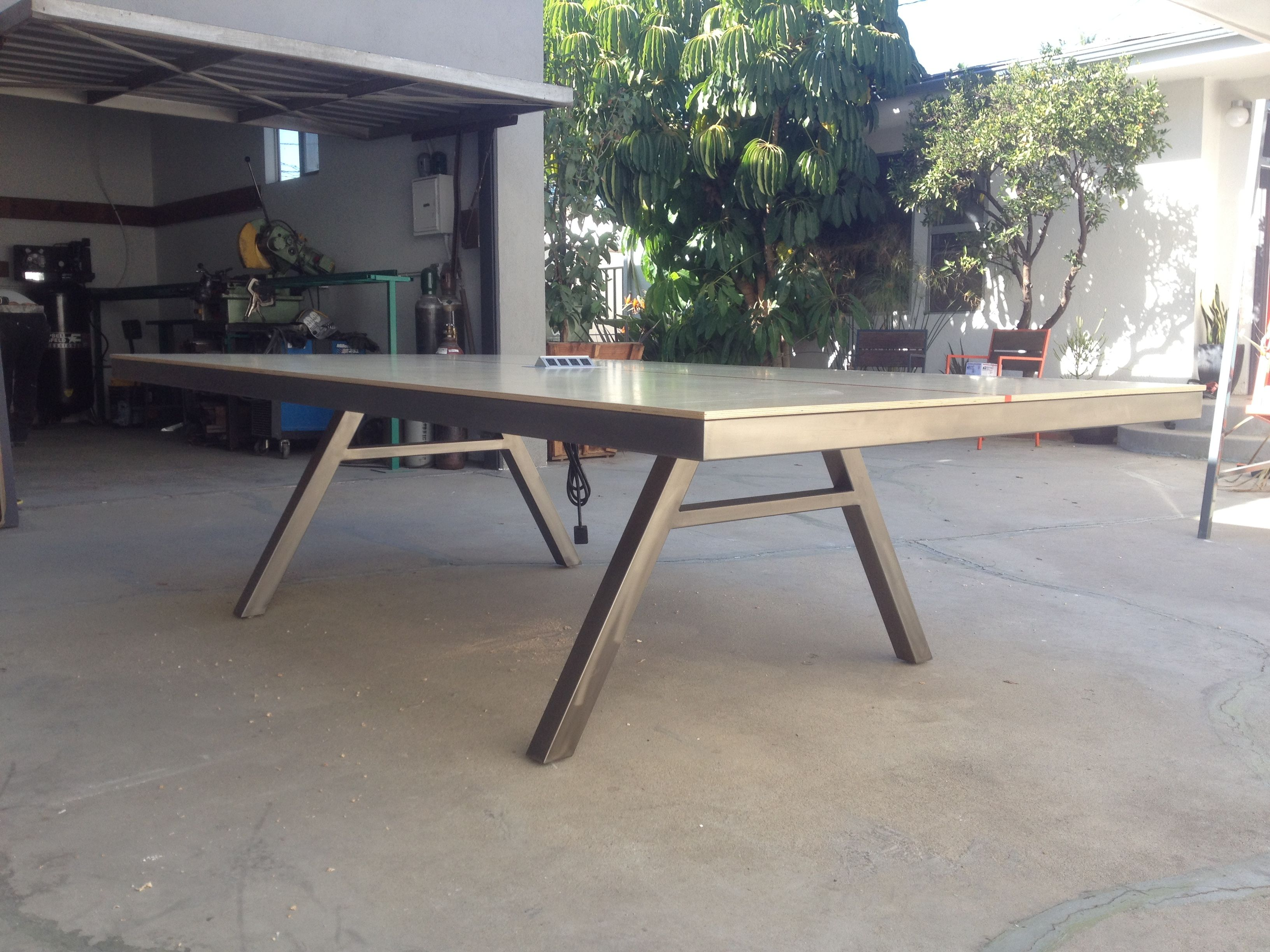 custom massive ping pongtable tennis conference table with steel base baltic birch plywood - Ping Pong Tables For Sale
