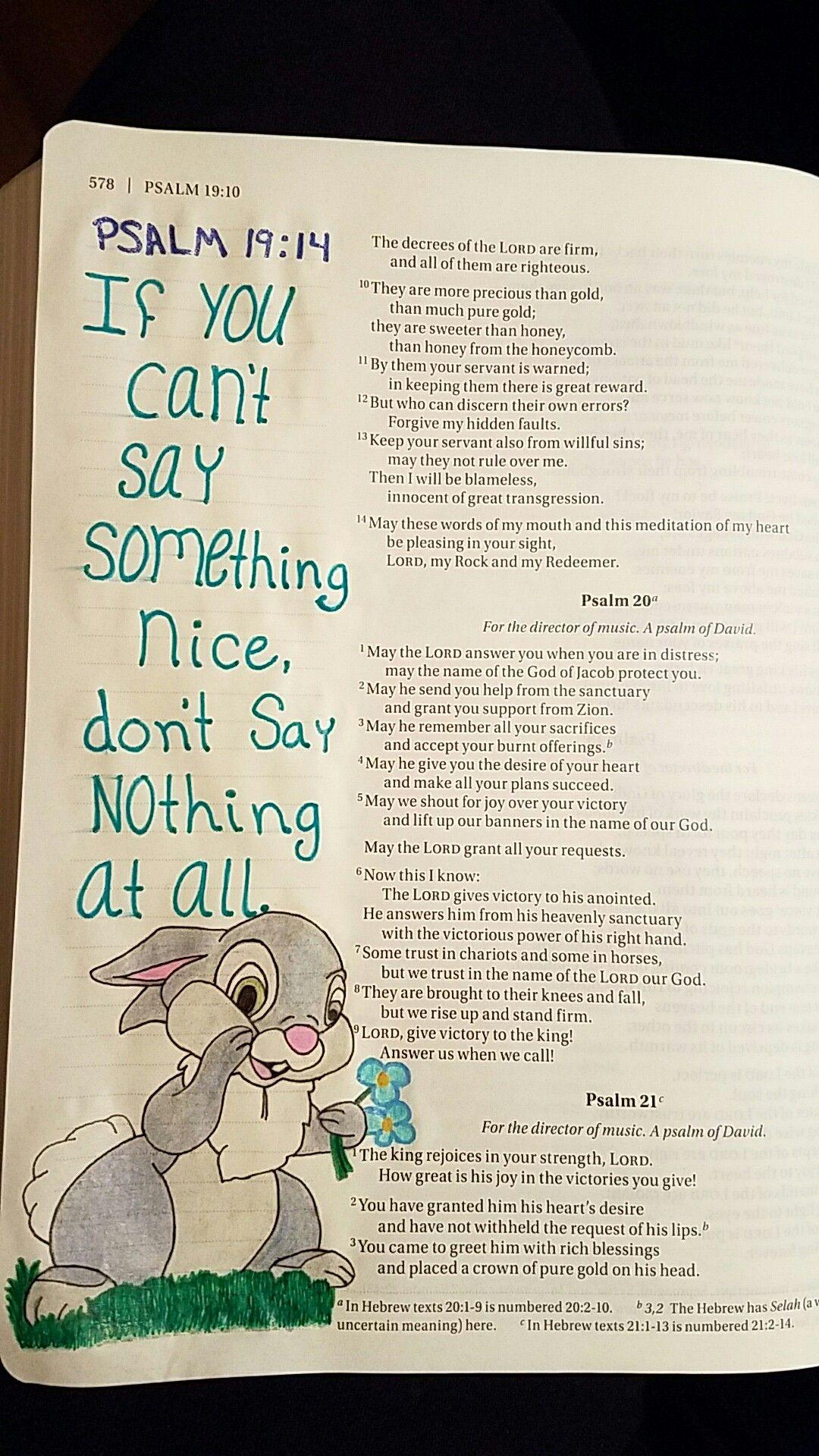 Terra Ragan: Bible Journal - Psalm 19:14 Thumper Disney   My