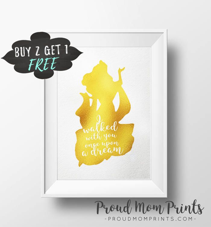 Sleeping Beauty Art Print Quote, Once Upon A Dream Gold Foil Prints ...