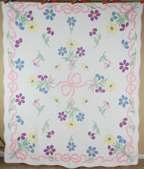 Beautiful Vintage 30 S Floral Daisy Ribbon Applique