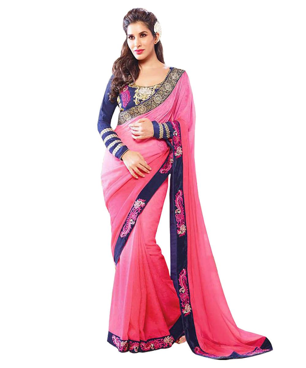 PINK GEORGETTE EMBROIDERED BLUE BORDER WORK SAREE | Wedding Sarees ...