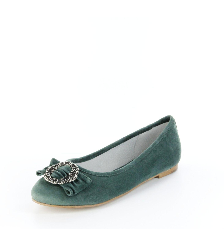 Bergheimer Trachtenschuhe Damen Ballerinas grün, Größe:42, Farbe:Grün
