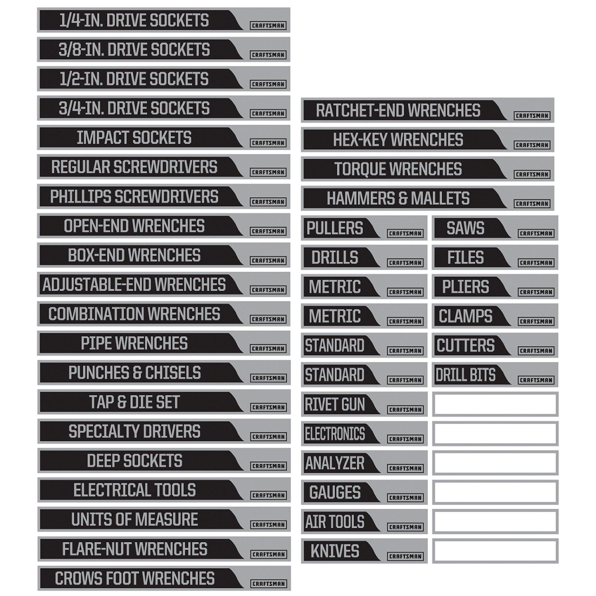 Craftsman Magnetic Labels Gray Tool Box Organization Storage Unit Organization Tool Chest